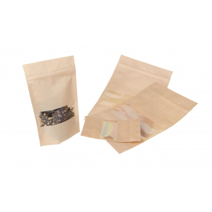 Doypack with zipper - window unbleached paper - 50 g
